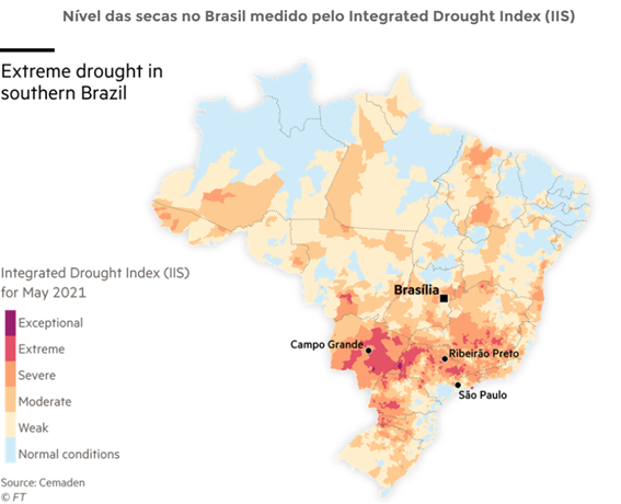 Mapa da seca que atinge o Brasil (segundo semestre de 2021)